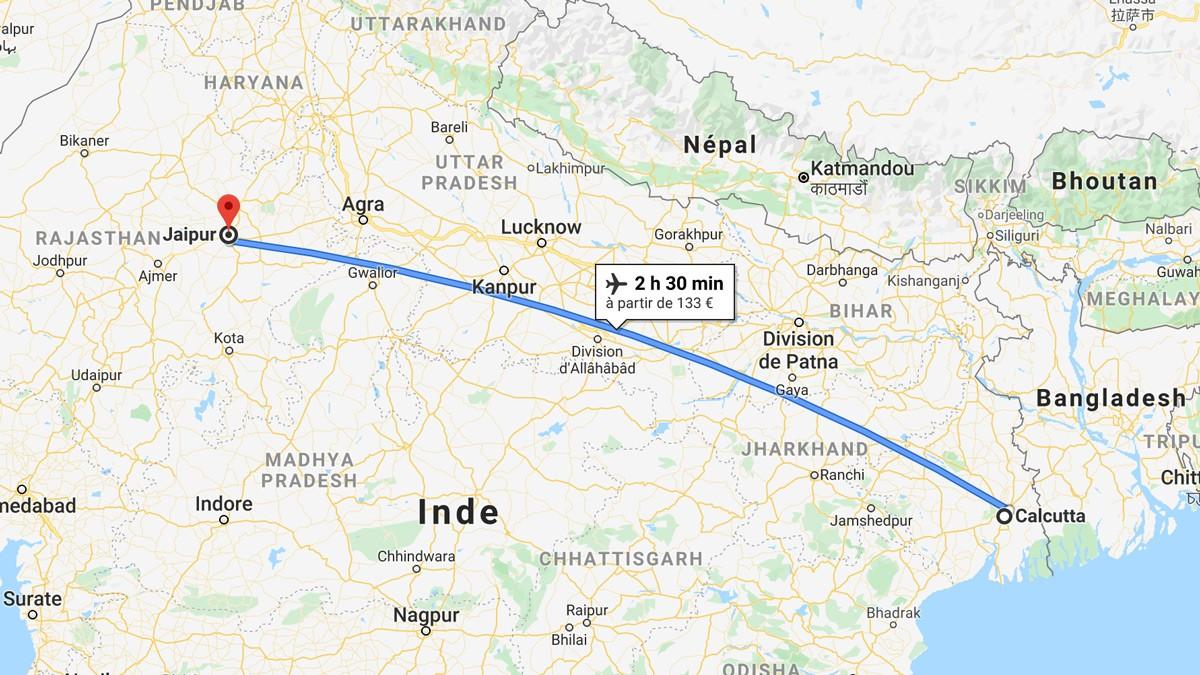 De Calcutta à Jaipur en avion